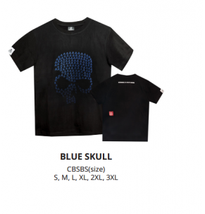 Apparel Bone Black Cotton Blue Skull Short